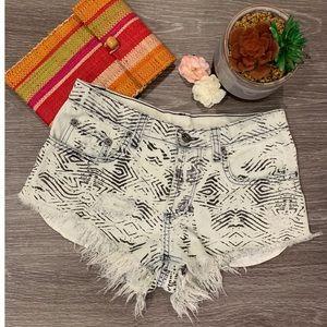 CARMAR Frayed Hem Tribal Print Denim Shorts